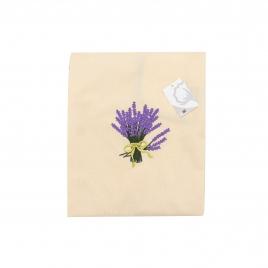 Tablier brodé + torchon éponge lavande/lilas
